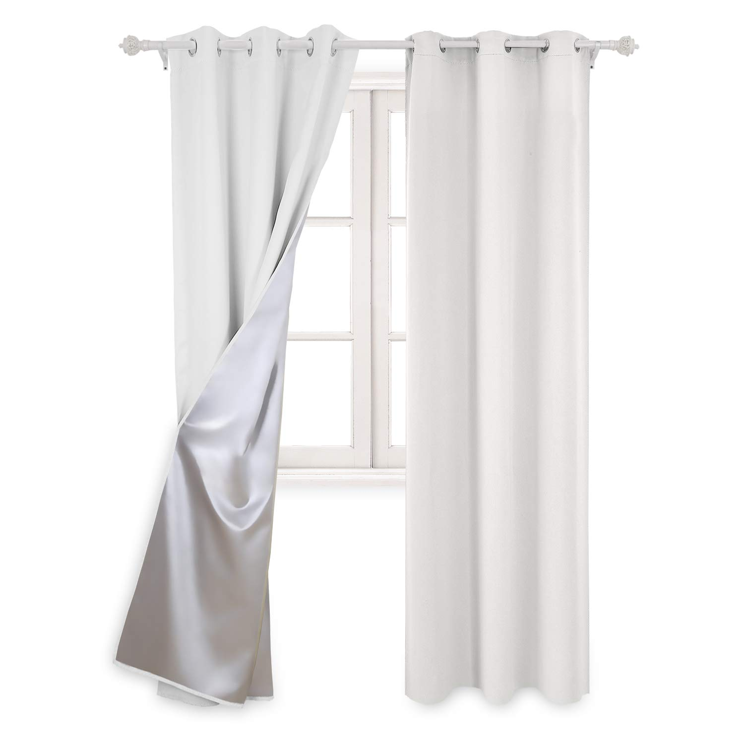 Deconovo Greyish White Thermal Insulated Blackout Curtains Grommet Curtains with Silver Coating for Bedroom 42 by 95 inch 2 Panels