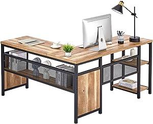 FATORRI L Shaped Computer Desk, Industrial Office Desk with Shelves, Rustic Wood and Metal Corner Desk for Home Office (Rustic Oak, 59 Inch)