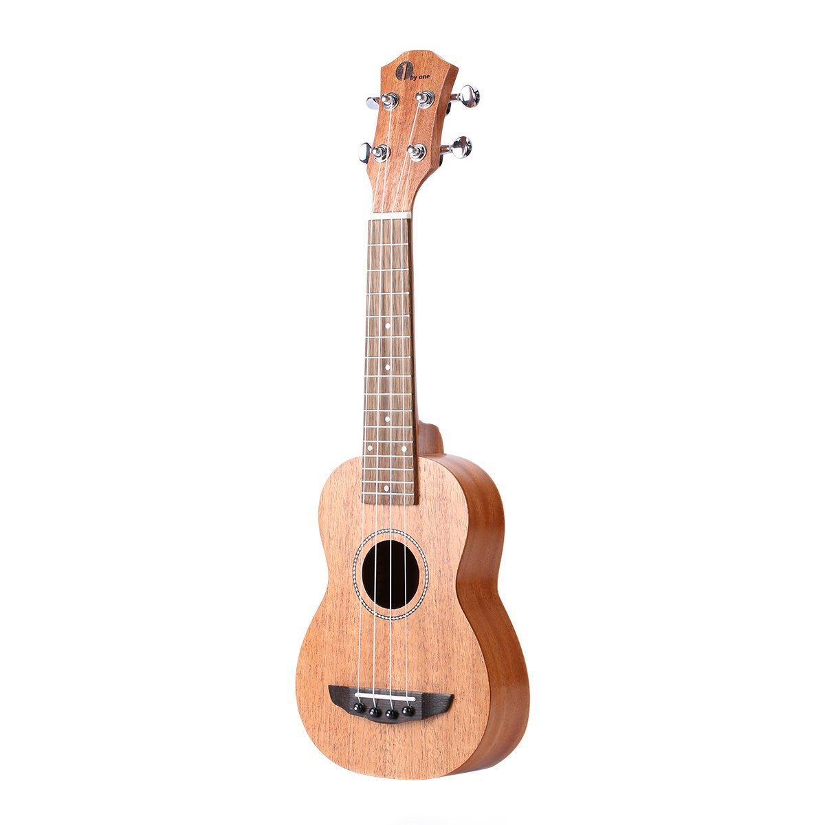 1byone 21'' Soprano Mahogany Ukulele with Included Digital Tuner, 3 Picks, Strap, and Black Gig Bag