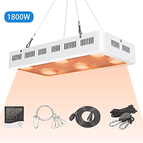 1800 Watt X6 Cob Led Grow Light Full Spectrum Led Plant Light with Daisy Chain, Temperature and Humidity Monitor, Hanging Hook, Adjustable Rope
