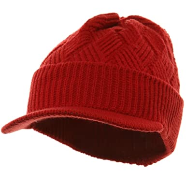 ba9cfecd783c29 Acrylic Plain Beanie Visor-Red at Amazon Women's Clothing store: Skull Caps