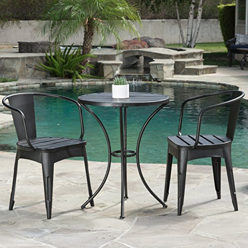 Great Deal Furniture Castro Outdoor 3-piece Black Cast Bistro Set For Sale