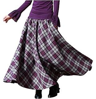 BININBOX Damen Kleid Falten Rock Woll Rock Tellerrock Lange Verdichter Rock  Herbst Winter Skirt 035ec97c68