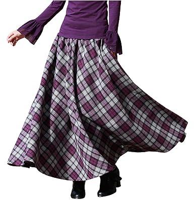 5651898578df BININBOX Damen Kleid Falten Rock Woll Rock Tellerrock Lange Verdichter Rock  Herbst Winter Skirt  Amazon.de  Bekleidung