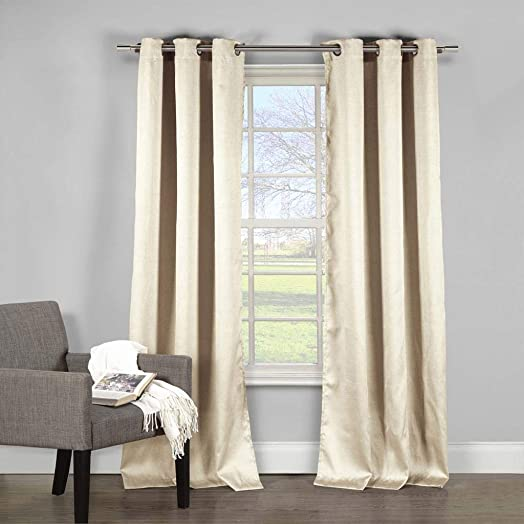 Vera Neumann Davenport Solid Grommet Top Window Curtain 2 Panel Set, 54 X 84, Beige