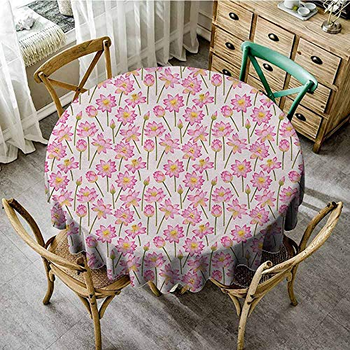 Lauren Russell Jacquard Tablecloth Lotus Blossoming Flowers of Purification of Soul Homeopathic Spiritual Remedy Fern Green Pink Yellow Restaurant Round Tablecloth Diameter 36