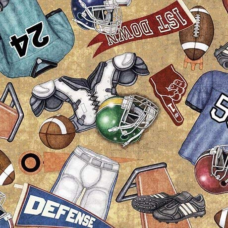 (Gridiron Football Equipment Cotton Fabric by Quilting)