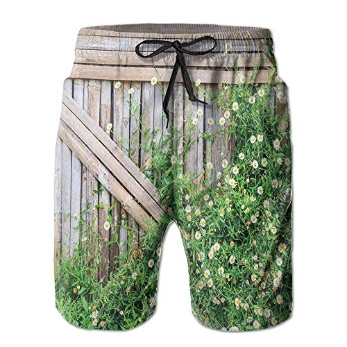 Richard Lyons Bamboo Fence Covered By Ivy Daisy Flower Blooms Chamomile Petals Picture Men's Quick Dry Beach Shorts Casual Comfortable Surf Shorts (Richard Ivy Water)
