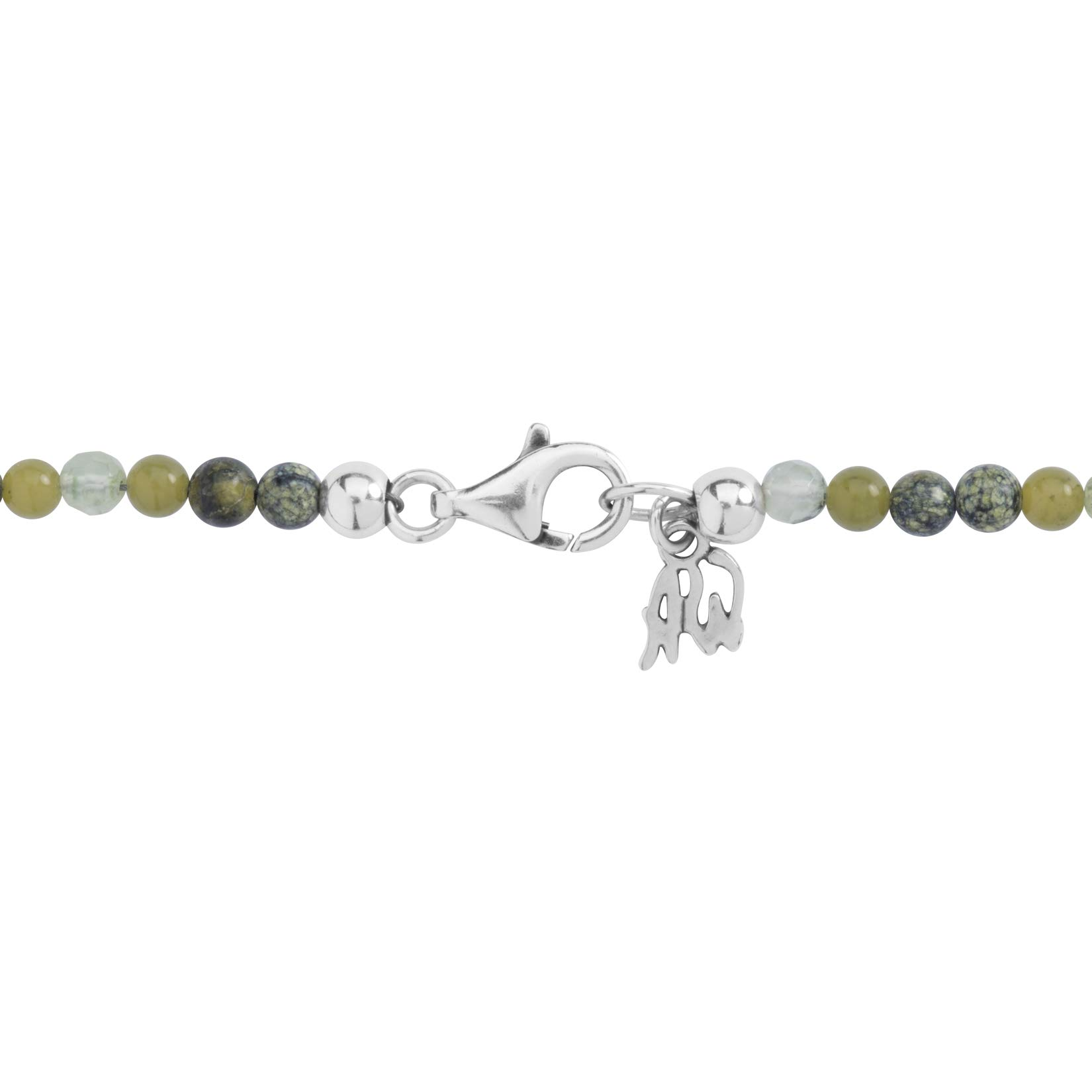 Sterling Silver 24'' Green Gemstone Beaded 7 Charm Necklace by American West (Image #5)