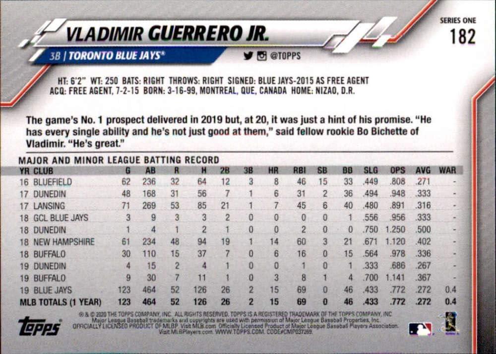 2020 Topps #182 Vladimir Guerrero Jr NM-MT Blue Jays