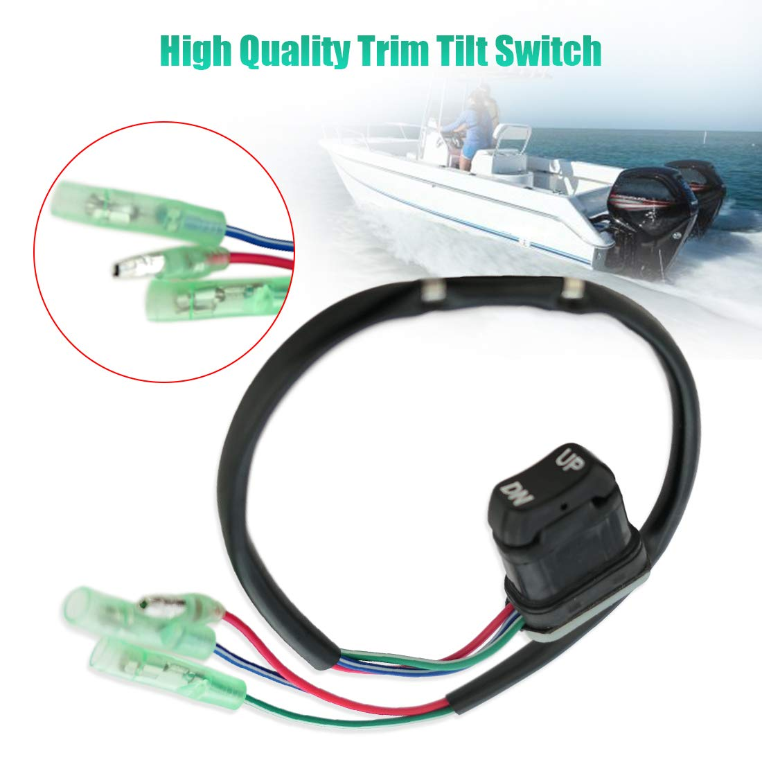 Boat Assembly Replacement OEM Number 87-18286A43 18286A43 1.31.20.7 inch Cable Length 17.7 inch Metal and Plastic Black Power Trim Tilt Switch Fits for Mercury Mariner Outboard Models Box