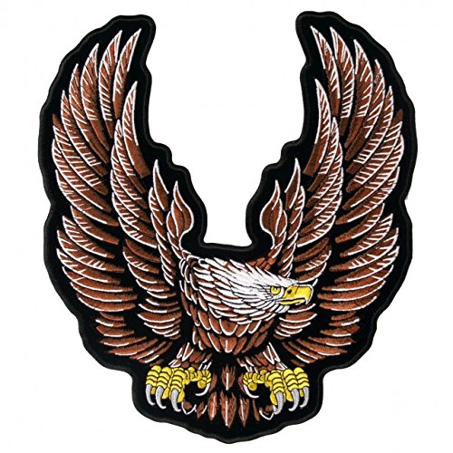 Hot Leathers, NEW UPWING EAGLE, High Thread Embroidered Iron-On / Saw-On Rayon XL PATCH - 10