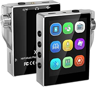 Music Player, MP3 Player with Bluetooth 8GB FM Radio HiFi High Resolution Lossless Digital Audio with Video E-Book Recording,Silver