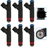 Injectors Kit,SCITOO 1 Holes Fuel Injector fit for 2005 2006 Jeep TJ 4.0L 2005 2006 Jeep Wrangler 4.0L,Set of 6