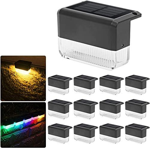 CHINLY Solar Deck Lights 12-Pack Warm White Color Changing Waterproof LED Solar Lights for Outdoor Stairs, Fence, Deck, Garden, Patio Yard, Porch and Step