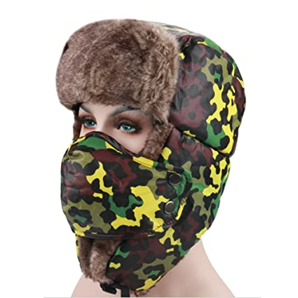 4902fd5f0efa6 ... Warm Winter Beanie Trapper Hat Hunting Hat Ushanka Ear Flap Chin Strap  and Windproof Mask for Outdoor Sport Ski Hat Cycling Motorbike