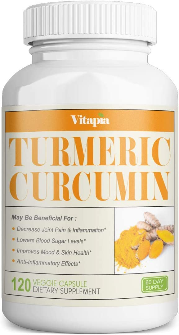 Vitapia Turmeric Curcumin Supplement 1000mg per Serving – 120 Veggie Capsules – Vegan and Non-GMO – Curcumin Pills for Anti-Inflammatory Effects, Joint Support, Brain Health Support