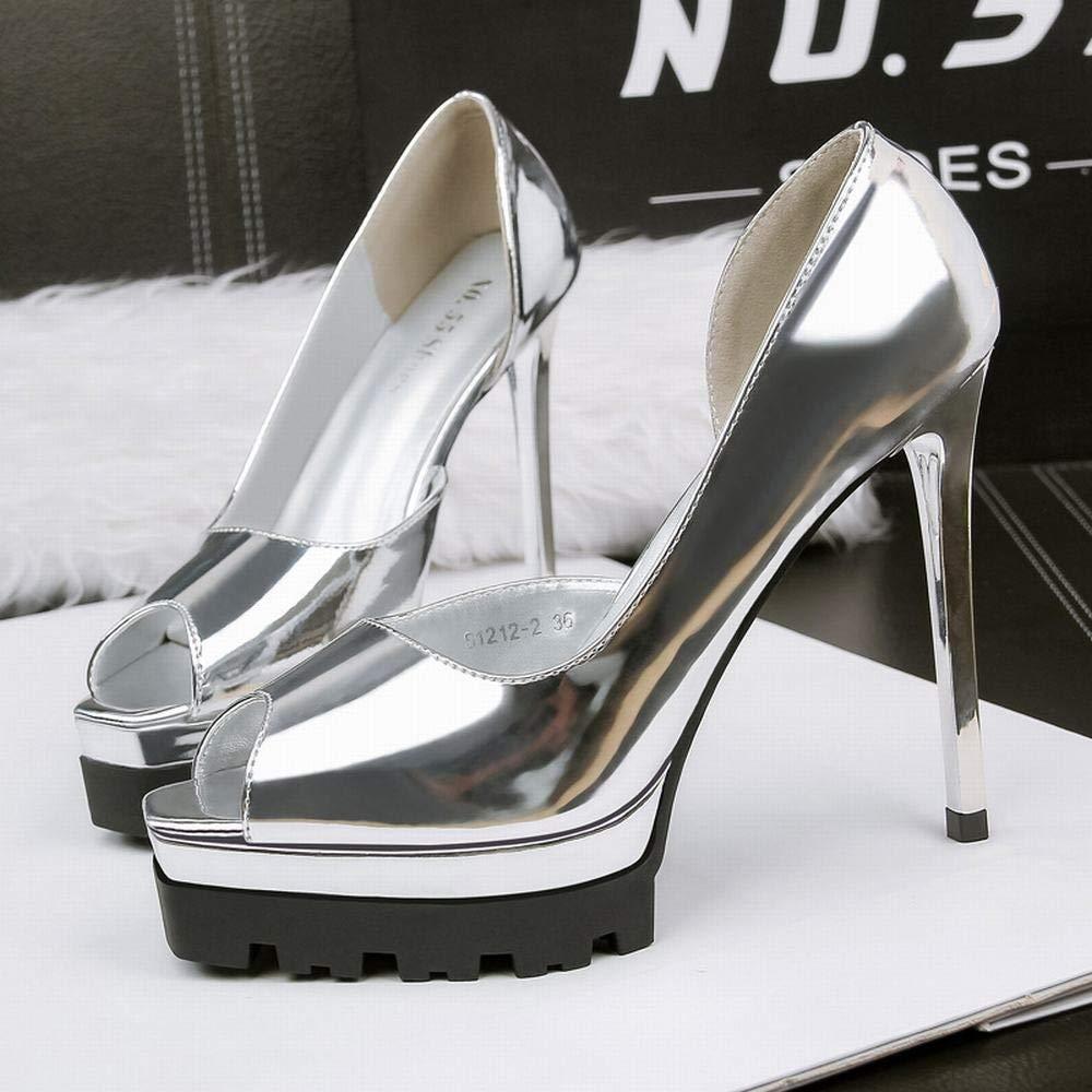 Yajiemei Einzelne Einzelne Einzelne Schuhe des High Heel Stiletto-Seitenfischmunds der Frauen (Farbe   Silber, Größe   38) 63f418