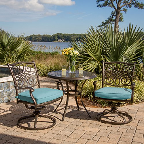 Hanover TRADDN3PCSW-BLU 3 Piece Seasons Bistro Set with 2 Swivel Rockers and 32