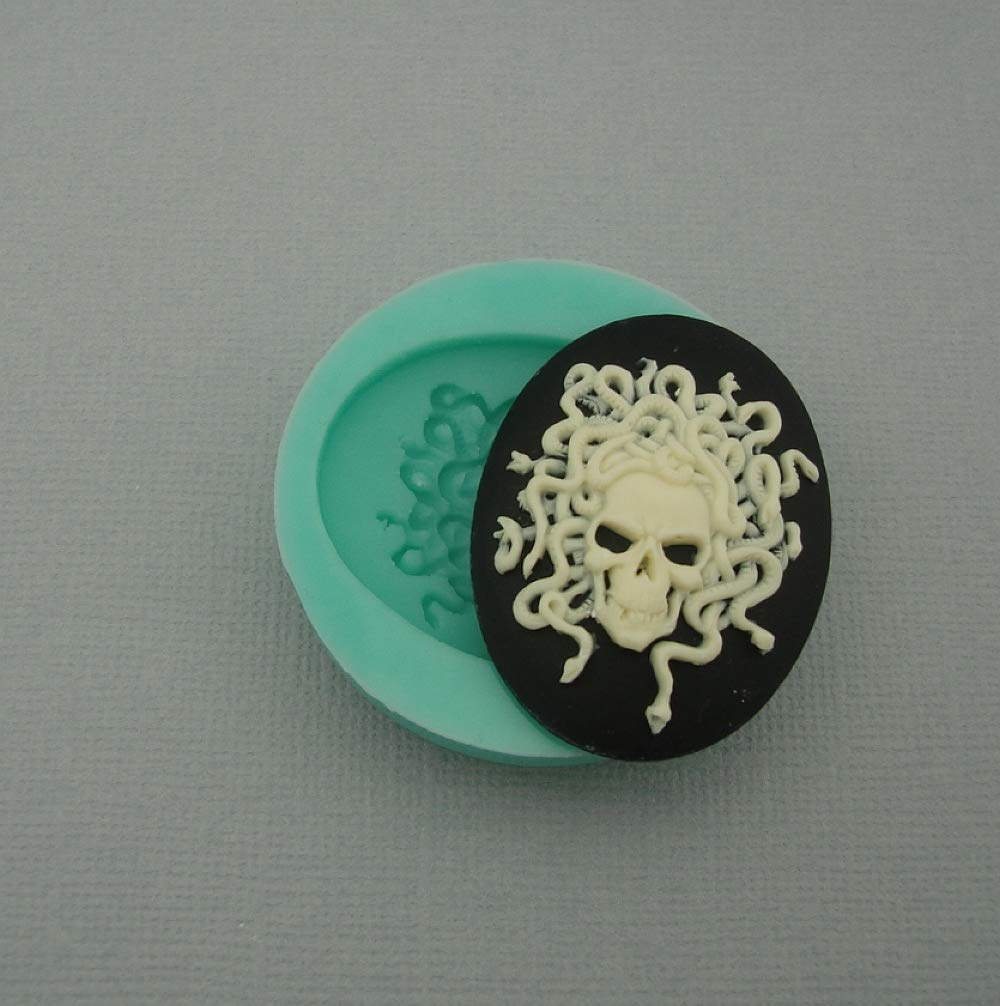 Resin Scrapbooking Polymer Clay Findings Stop Brand Silicone Mold Medusa Skull Cameo Flexible for Crafts Jewelry