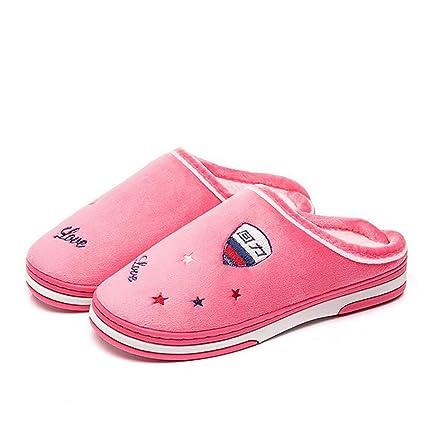 SHANGXIAN Interior Antideslizante Pantuflas Felpa Sandalias Mujer Algodón Otoño Invierno Familia Comodidad Zapatos Chancletas,B