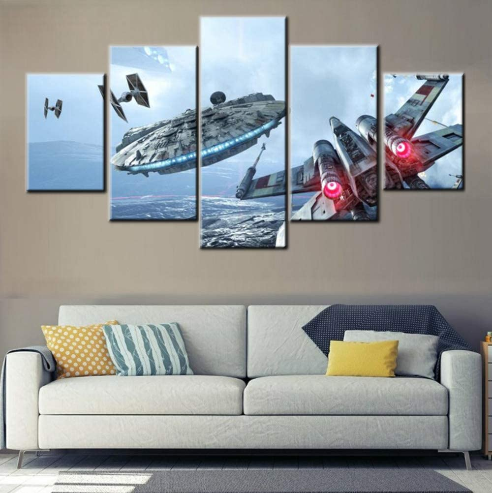 Airplane Wall Pictures for Living Room Military Aircraft Painting Multi Panel Prints Wall Art on Canvas Gallery-Wrapped Contemporary Artwork House Decor Stretched and Framed Ready to Hang(60''Wx32''H)