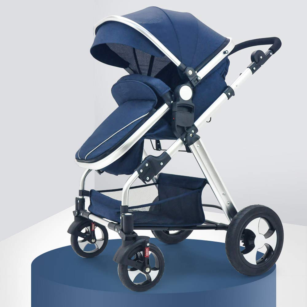 Adjustable Handle Height Two-Way Foldable Carriage Stroller Or Infant Basket, High Angle of View Travel System Pushchair Grows with Your Child,Blue by ZLYCZW