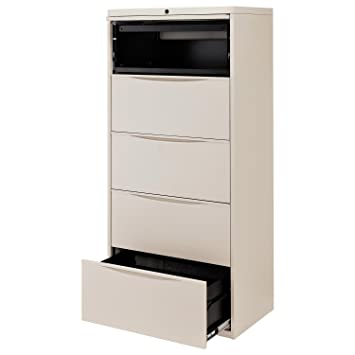 30u0026quot;W Premium Lateral File Cabinet, 5 Drawer, Putty
