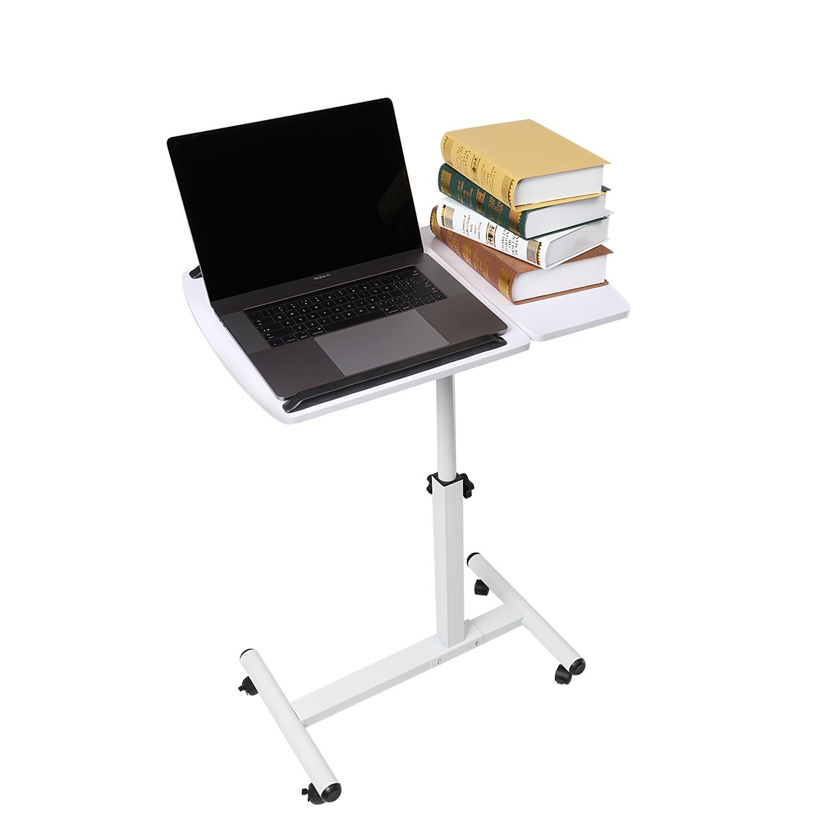 Magshion Shiny Lavender Laptop Desk Medical Adjustable Height Overbed Table Multi-purpose Portable Computer Desk with Wheels