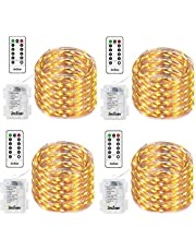 Homestarry 2 Sets Fairy String Lights Battery Operated Waterproof 8 Modes, Firefly Remote, Bedroom, Patio, Decor Christmas, 16.4 ft 66 LED's Cool White