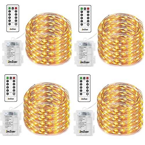 4 Pack Fairy String Lights, Battery Operated Waterproof 8 Modes Remote Control 50 Led 16.4ft Indoor Lights Copper Wire Twinkle Lights for Bedroom Wedding Party Dinner Festival Decor (Warm White) -
