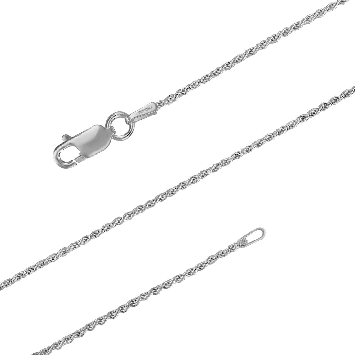 Sterling Silver 1.1mm Diamond-Cut Rope Chain Necklace Solid Italian Nickel-Free, 21 Inch