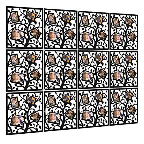 Kernorv Hanging Room Divider Made of Environmental PVC Panels Screen, Room Divider with Picture Frames for Decorating Living Room, Dining Room, Sitting Room, Office, Restaurant (Black, 12 pcs)