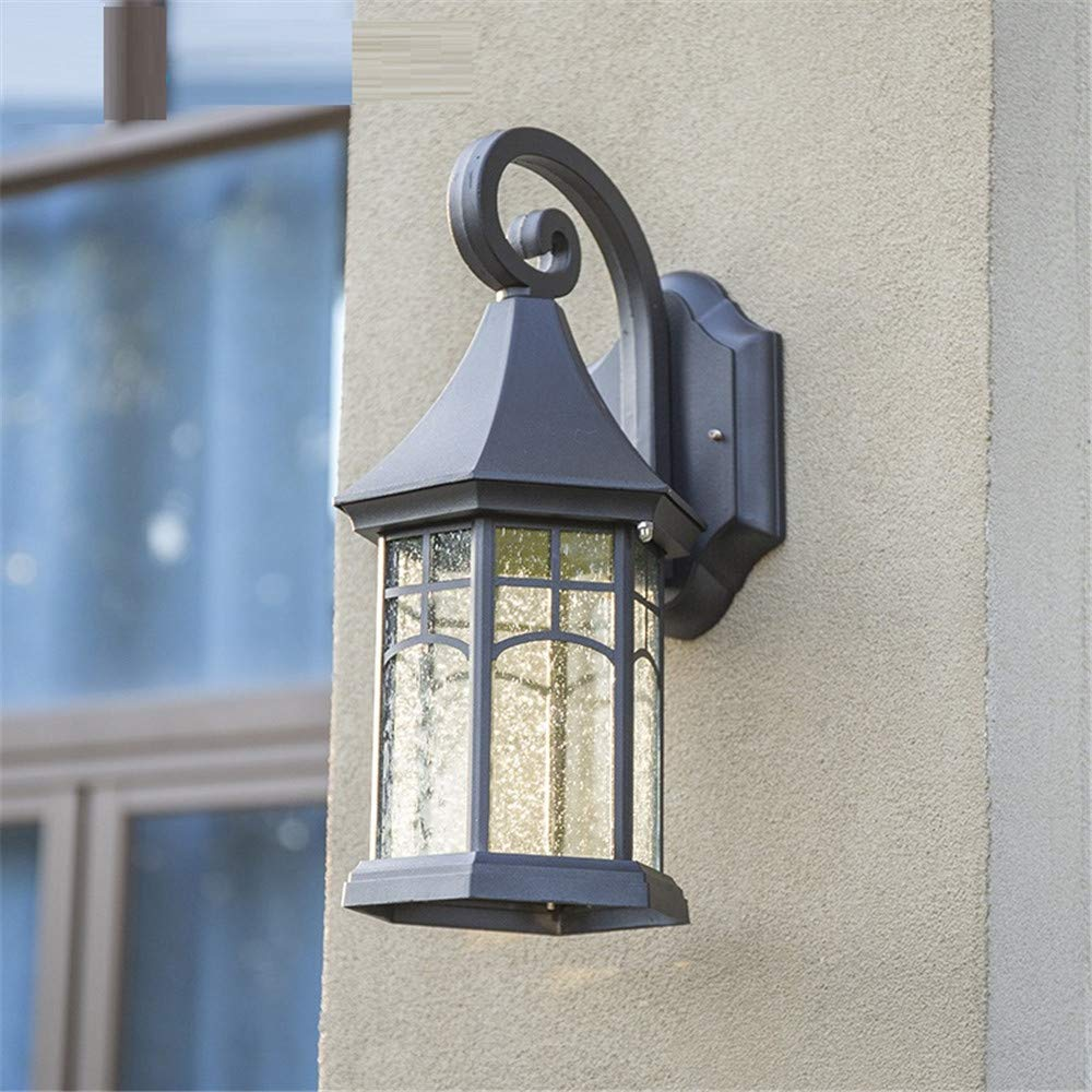 HRCxue Außenwandleuchten Outdoor-Wandleuchte Balkon Gang dekorative Terrasse Lampe wasserdicht Retro-Garten Garten Lampe Treppe Lampe 43  23cm, schwarz korrosionsBesteändig