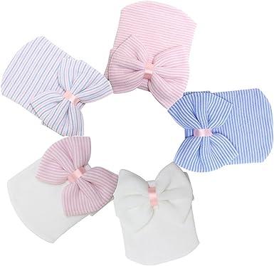 5 Pieces Newborn Baby Hat Cap with Big Bow Decoration Nursery Beanie