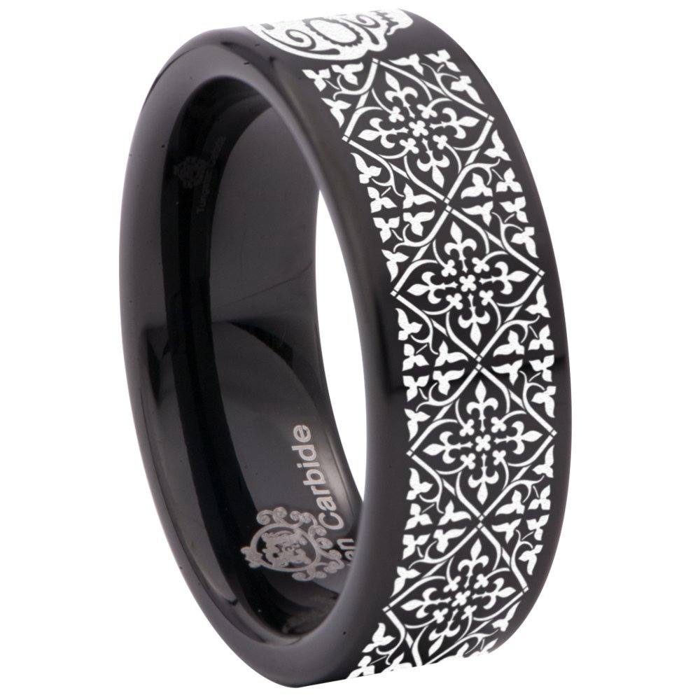 Black Tungsten Carbide Gothic Ring 8mm Wedding Band Anniversary Ring for Men and Women Size 12.5