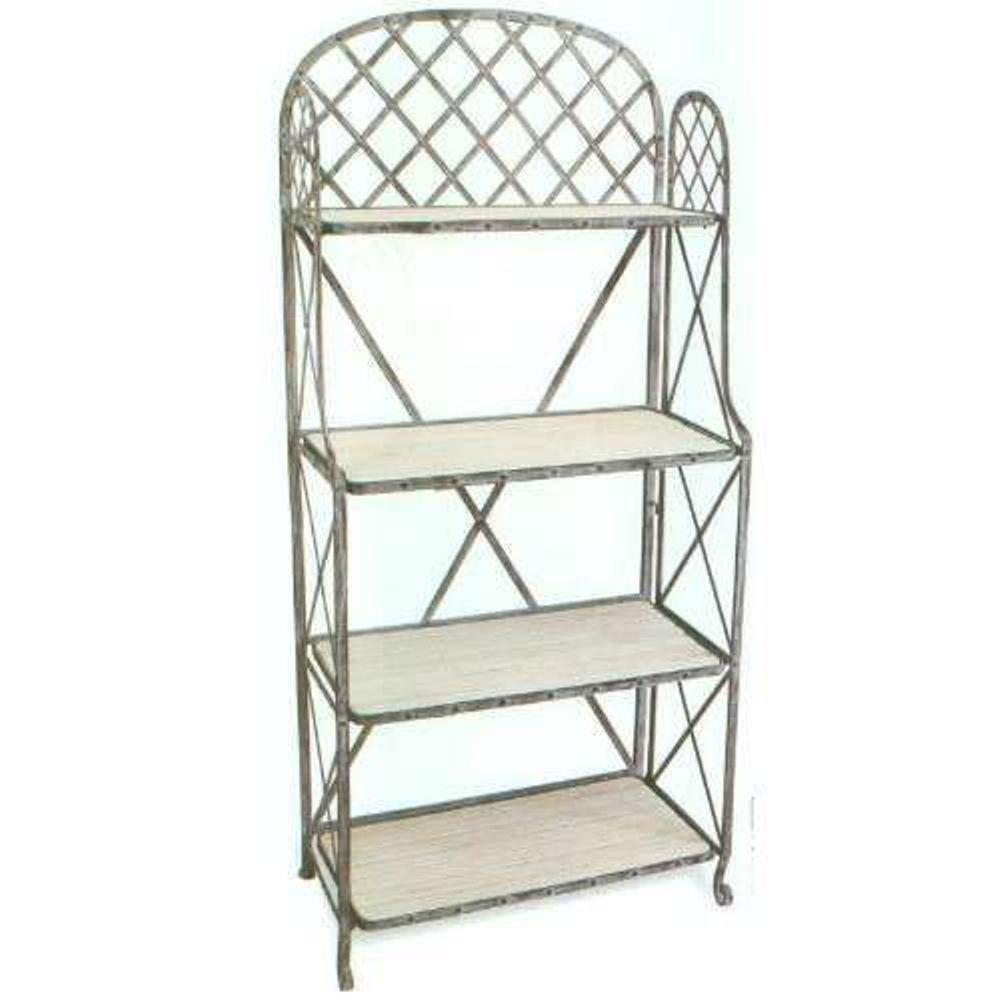 Iron Display Furniture アイアンディスプレーファニチャー ホワイトウッド ラック4段 B07F1MPVCG