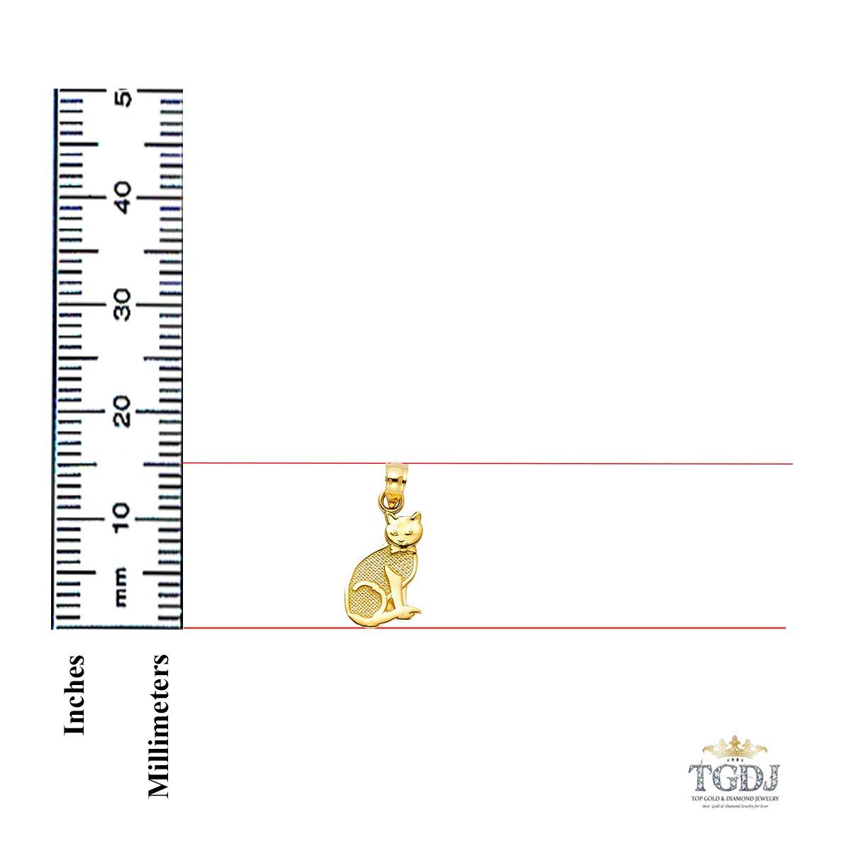 Height 15 MM Width 10 MM 14K Yellow Gold Cat Pendant