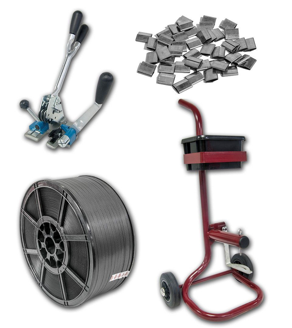 Kit de resistente palé para flejes con bobina grande de 12 mm de ancho, correas de polipropileno, carrito de almacenamiento, tensor + herramienta de sellado ...