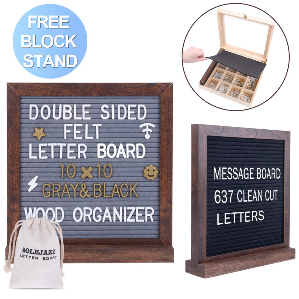 Felt Letter Board in Natural Wooden Box 10''x10'' Double Sided Letter Board, Gray & Black Changeable Message Board with 637 Clean Cut Letters, Bonus Cursive Words +Stand for Quotes, Messages, Displays