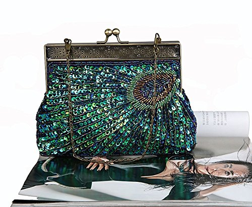 Bag for Beaded Party Sequin Fashion Women for Bags Pearl Beaded Blue Bag Bag Glitter Clutch Bridal Wedding Evening Vintage Peacock HONGCI Clutch wvq0t7SH