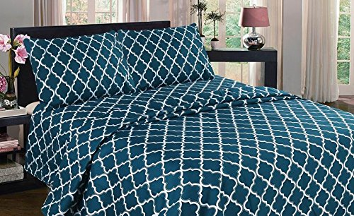 GorgeousHome  3/4PC Solid Flat Fitted Pillowcase Geometric P