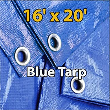 16'x20' Blue Waterproof Poly Tarp for Camping Hiking Backpacking Tent Shelter Shade Canopy Etc.