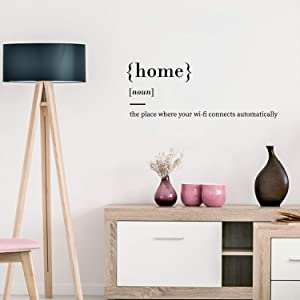 """Vinyl Wall Art Decal - Home The Place Where Your WiFi Connects Automatically - 11"""" x 30"""" - Modern Witty Household Quotes for Home Bedroom Living Room Apartment Indoor Decoration"""