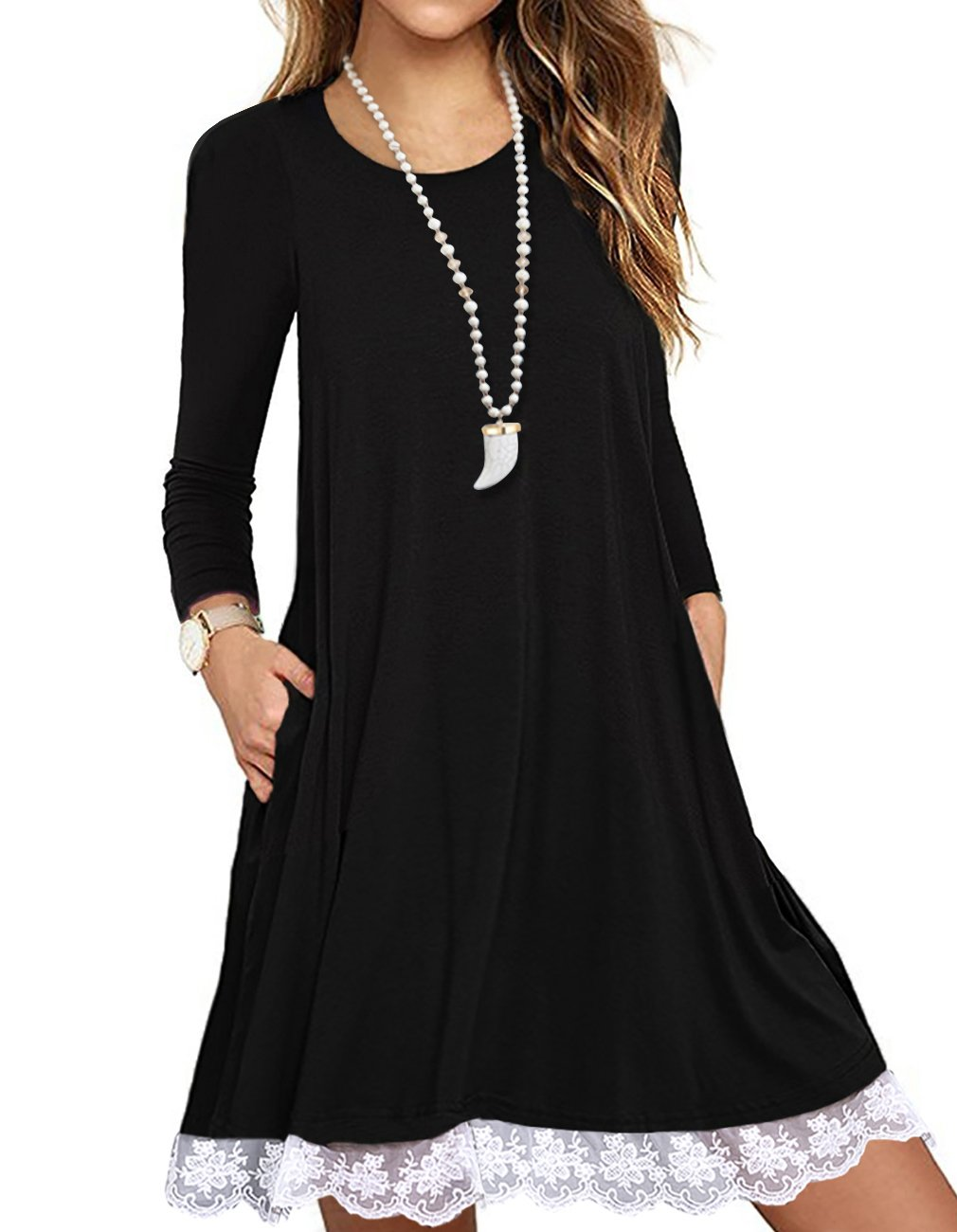Sanifer Women's Long Sleeve Cotton Lace T Shirt Dress with Pockets (X-Large, Black)