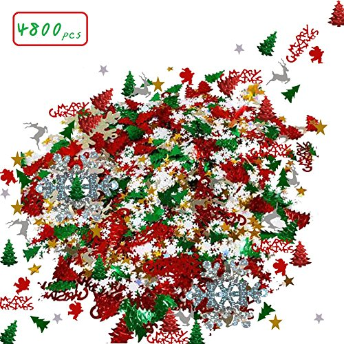 Christmas Confetti Mix Foil (4800 count/100g) Snowflake,Pentagram,Santa Claus,Pine, Merry Christmas Alphabet,Elk,Christmas Tree Confetti Bright Christmas Decoration Set