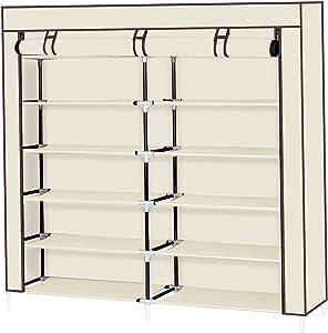 Punkray Shoes Rack Storage Shelf; Practical Shoe Rack Storage Organizer for Home; 7 Tiers Portable Shoe Rack Closet Fabric Cover Shoe Storage Organizer Cabinet Beige