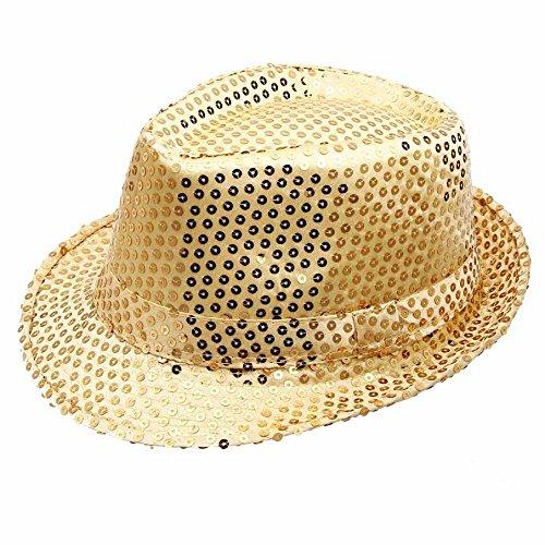 FTXJ Unisex Men Women Sequined Fedora Hat For Jazz Dance Show Performances (Gold) (Gold Sequin Fedora Adult Hat)