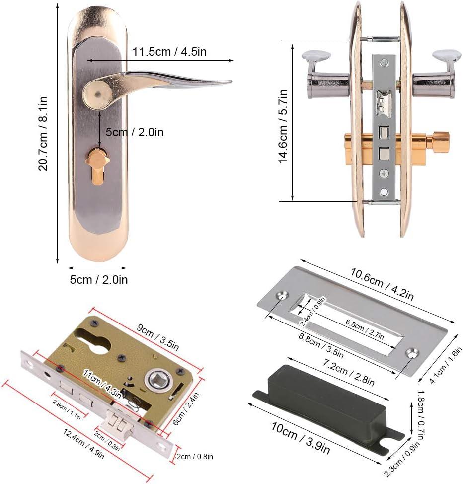 Hogar Cerradura de puerta interior Aleaci/ón de aluminio Puerta de seguridad Cerradura de puerta de madera interior Manija de puerta simple Cerradura de manija Cerradura de hardware