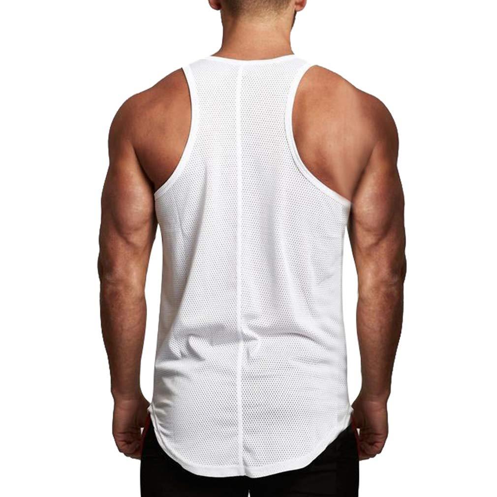MEIHAOWEI D/ébardeurs Mesh sans Manches Hommes Chemises Respirant Gymnastique Entra/înement Gymnastique